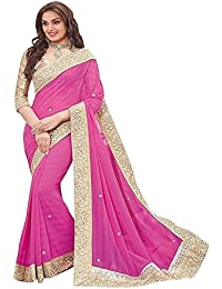 Vivan Trendz Women's Chiffon Saree With Blouse Piece(Priya_lightpink)