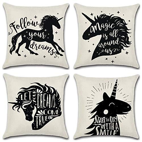 Acbazefa bianco e nero bicolore federa modello unicorno design decorazione della casa divano cuscino 18 * 18 pollici 45 * 45 cm