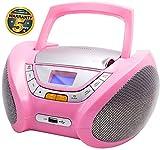 Lauson Radio CD Portatile USB   Lettore Cd per Bambini   Stereo Radio FM   Boombox Con Pratica Maniglia   CD/MP3 Player Portatili  AUX IN   LCD-Display (Rosa)