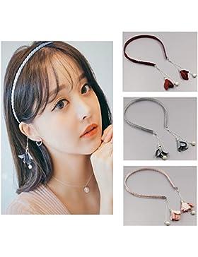 [Patrocinado]Moda para mujer Hairband 3 piezas diadema con flores pendientes de perlas accesorios para el cabello