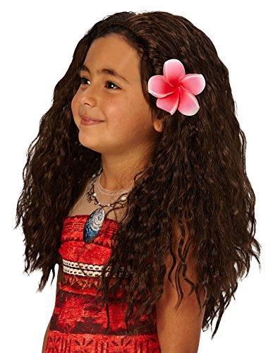 Disneys-Moana-Perücke, mit Blumen-Kostümzubehör. (Kinder Perücke)