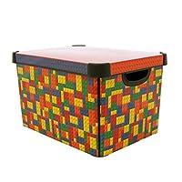 Curver 219820 Plastic Stockholm Deco Brights Storage Box, 22 Liters, Large, Multicolor
