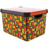 Curver - Scatola portaoggetti decorativa Stockholm, in plastica, grande, 22 litri, multicolore - Deco Storage Box