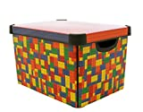 Curver Stockholm Bright Blocks Plastic Deco Storage Multi Colour Box, 22 Litre