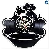 NIGHT BLACK Dekoration Hot Pet Dog 3D Exklusive Wanduhr Vinyl Record DIY Zimmer Wandkunst Aufkleber Dekorative Reloj Wandbild, wgreat Geschenk für Geburtstag, Jubiläum oder eine andere Gelegenheit