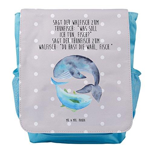 Mr. & Mrs. Panda Rucksack, Kids, Kinderrucksack Walfisch & Thunfisch mit Spruch - Farbe Grau Pastell