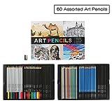 Magicfly 60 Buntstifte Set mit Kohlestiften und Grafitstifte - für Malbücher für Erwachsene oder Kinder - Leichter Zugang mit 2 Fächern - Box für Aufbewahrung