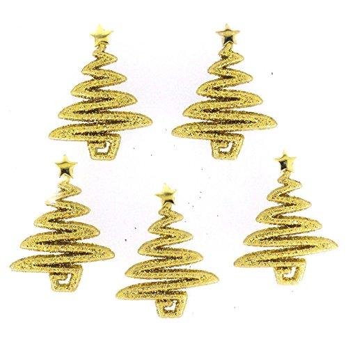Unbekannt Kleid IT up Form Neuheit Tasten Weihnachten Glitzer Bäume Gold–Pro Pack (Neuheit Knöpfe Nähen)