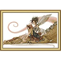 CaptainCrafts Hot New Releases DIY Art Cross Stitch Kits Needlecrafts Patterns Counted Embroidery Kit - The Girl Sat on The Dragon Reading a Book (White)