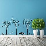 (100x 55cm) Vinyl Wand Aufkleber Wald Bäume, Fox, Flock of Birds & Kaninchen Silhouette/Nature Art Decor Aufkleber/DIY Wandbild + Gratis zufällige Aufkleber Geschenk macht.