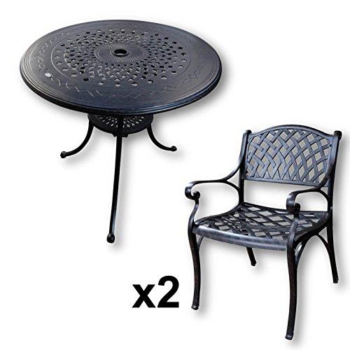 Lazy Susan - ANNA 80 cm Runder Gartentisch mit 2 Stühlen ...