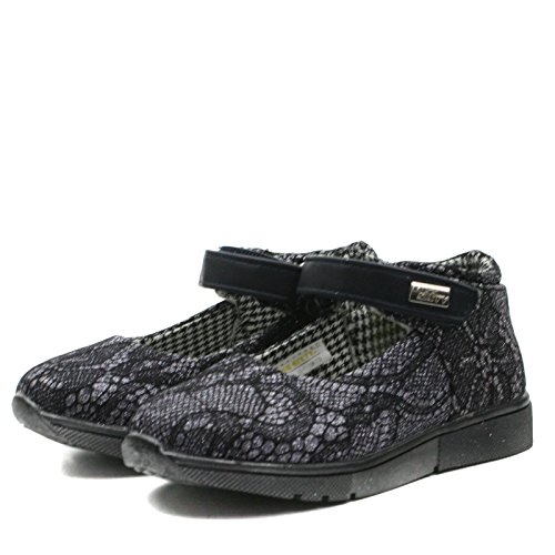 MS003 Miss Sixty Girls Ankle Strap Mary Jane Shoe in Navy Blue Lace Effect Taglia 22