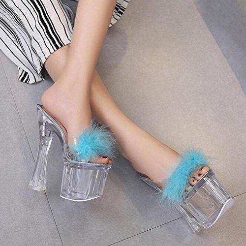 WYWQ Sandali con tacco a spillo in cristallo con tacco alto 18mm Estate femminile Piattaforma impermeabile antiscivolo con fondo spesso e fiori bowknot blue