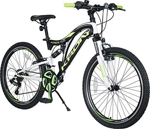 KRON ARES 4.0 Vollgefedertes Kinder Mountainbike 24 Zoll ab 10, 11, 12, 13, 14 Jahre | 21 Gang Shimano Kettenschaltung mit V-Bremse | Kinderfahrrad 15 Zoll Rahmen Vollfederung | Schwarz Grün -