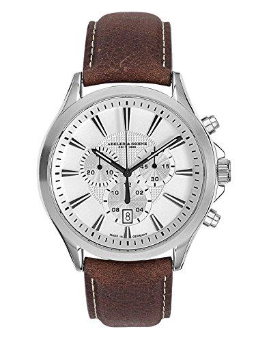 Abeler & Söhne–Made in Germany–Orologio da uomo con cronografo, Vetro Zaffiro e cinturino in pelle as3257