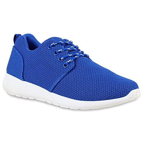 Damen Herren Sneaker Sportschuhe schwarz Turnschuhe Runners mit Blumen Print in mehreren Farben Blau Amares