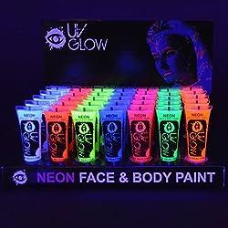 Pintura Corporal y Facial 10ml UV GLOW Conjunto De 24 Tubos Neón Fluorescente incandescente