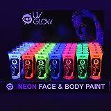 24 x 10ml UV-Bodypaint Körpermalfarben Schwarzlicht fluoreszierende Schminke Bodypainting Neon