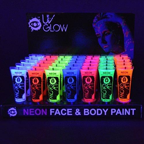 24x UV Glow 10ml Vernice Fluorescente Pelle Viso Corpo Colore UV - 8 Colori Diversi - Neon Glow Fluo
