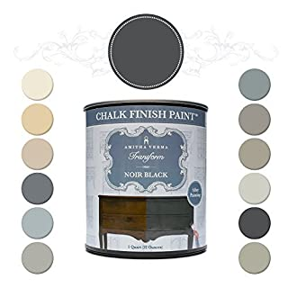 Amitha Verma Chalk Finish Paint, No Prep, One Coat, Fast Drying | DIY Makeover for Cabinets, Furniture & More, 1 Quart, (Noir Black) by Amitha Verma
