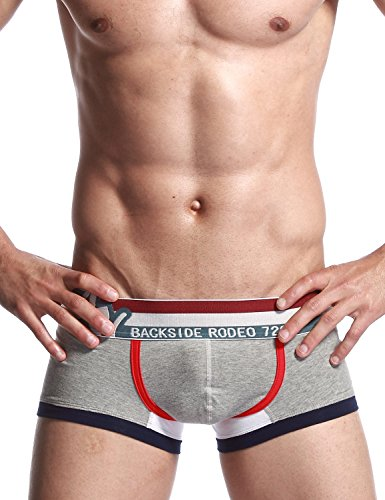 SEOBEAN Herren Low-Rise Sexy Boxer Brief Slip Trunks Unterwäsche Underwear 2521 Grau
