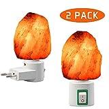 OYGROUP 2 paquetes lámpara de sal de 7W Himalaya luz de sal con enchufe de pared, sal natural, 220V, bombilla incandescente incorporada