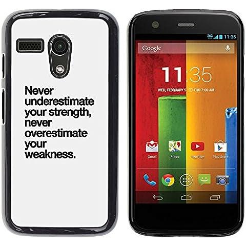 YOYOYO Smartphone Protección Defender Duro Negro Funda Imagen Diseño Carcasa Tapa Case Skin Cover Para Motorola Moto G 1 1ST Gen I X1032 - fortaleza texto debilidad inspirador