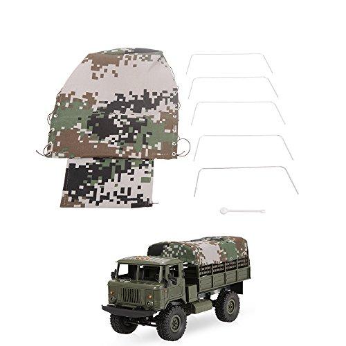 Goolsky Cubierta de la capilla del camión de la lona para la correa eslabonada de la roca del camión militar de WPL B-24 1/16 RC