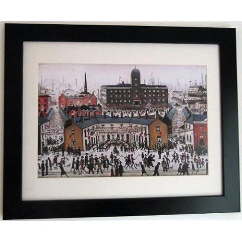 L S Lowry specialità Stampa/Picture–V e giorno–su una struttura in lino, misura media, Black Frame With Soft White Mount And Small Image, 14 x 11inch
