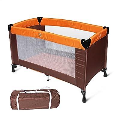 Todeco - Patio de Juegos para Bebes, Cama de Bebé Portátil - Tamaño desplegada: 125 x 76 x 65 cm - Carga máxima: 25 kg - Estándar CE, 125 x 65 x 76 cm, Naranja/Marrón