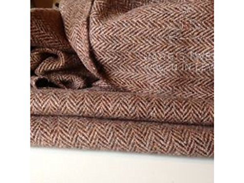 New Hand Woven Harris Tweed 100% Wolle Fischgrätenmuster HGH Class Stoff 75cm...