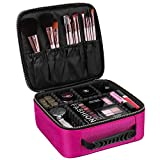 #4: House of Quirk Makeup Cosmetic Storage Case Box with Adjustable Compartment, Pink