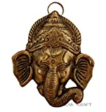 #3: DreamKraft White Metal Gold Plated Half Trunk Ganesh wall Hanging for Home Décor