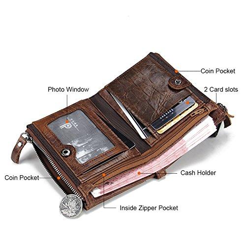 VECHOO Premium echtem Rindsleder Geldbörse mit RFID Schutz, Vintage Bifold Geldbeutel Doppelreißverschluss Portemonnaie mit Kreditkarte Halter(Braun) - 3