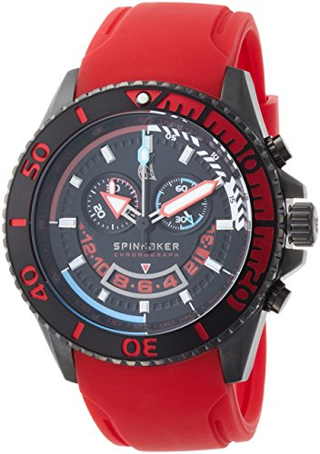 Spinnaker Amalfi Diver Men's Quartz Watch with Black Dial Chronograph Display on Red Silicon Band SP-5021-0D