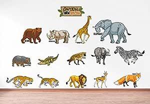 Rawpockets 'Caution Wild Animals - Kids Room ' Wall Sticker (PVC Vinyl, 120 cm x 60cm)