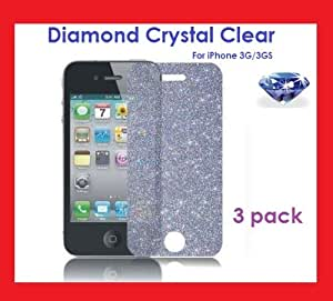 PowerDigital(TM) DIAMOND Crystal Clear Sparkling Glitter Screen Protectors for iPhone 3G / 3GS (3 PACK)