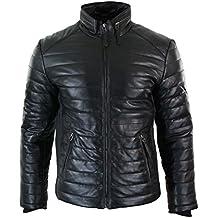 Veste doudoune homme cuir véritable fermeture éclair couleur marron ... 7da5def2cecb