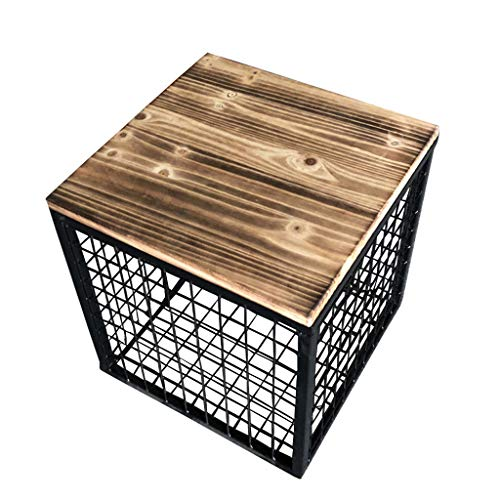 JYFK-Fußhocker Aufbewahrung Ottoman Cube Retro Hocker Aufbewahrung Kommode Fußstütze Hocker Sofa Hocker Mehrzweck für Schlafzimmer und Wohnzimmer, Eisenrahmen + Massivholzsitz