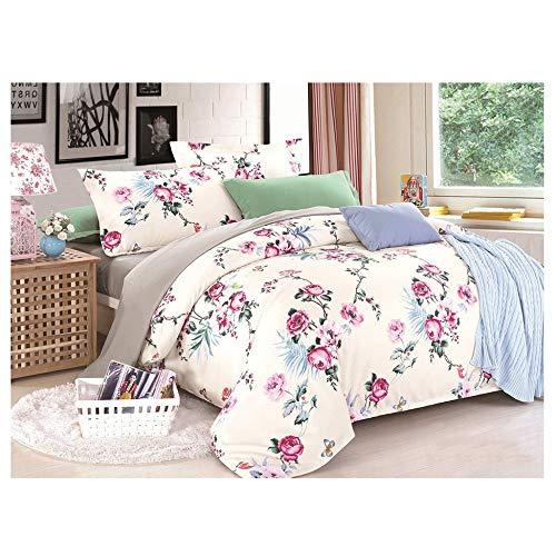 Bettwäsche Set/Home Ultra Soft Mikrofaser Quilt Set Schlafzimmer Pflanze Blumen 3-teiliges Set (1 Bettbezug Mit Reißverschluss + 2 Kissenbezüge) Bettwäsche-Set 3 Teilig,Pink-King -