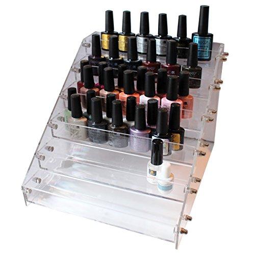 Rastrelliera supporto trasparente a 6 piani organizzazione smalti unghie da kurtzy - può contenere fino a 36 smalti unghie - contenitore organiser acrilico da tavolo - beauty case organizzazione