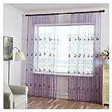 Voile Vorhang, BBring 1 Stück Vorhang Transparent Gardinen Sheer Voile Drapieren Volant Tulle Fenster mit Schmetterling Muster,200cm x 100cm (Violett)