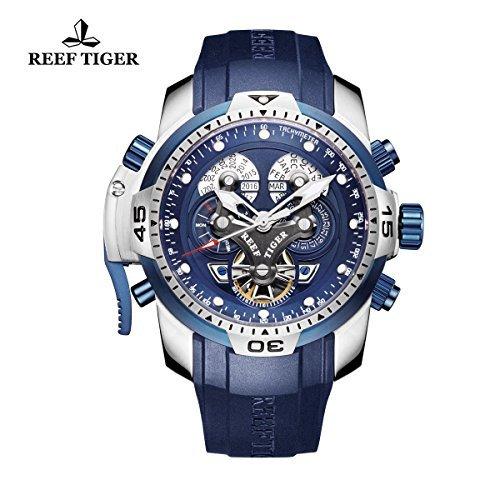 REEF TIGER Herren Uhr analog Automatik mit Kautschuk Armband RGA3503-YLBB