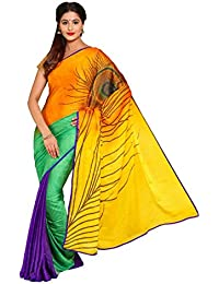 Kbf Sarees For Women Embroidered Half And Half Bhagalpuri Saree With Blouse Piece Material For Party Wear, Wedding...