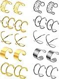 10 Paar Edelstahl Ohr Manschette Helix Knorpel Clip auf Ohrringe nicht Piercing Knorpel Ohrringe für Damen Mädchen Lieferungen, 5 Stile (Stahl und Gold)