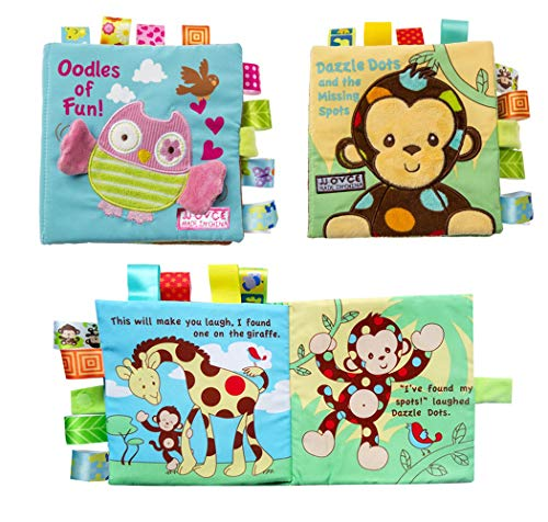 Hillento 2 Packungen ungiftig Weichen Stoff Baby Tuch Bücher frühe Bildung Spielzeug Aktivität Crinkle Tier Tuch Buch für Kleinkind, Säuglinge und Kinder, perfekt für Baby-Dusche, AFFE und Eule