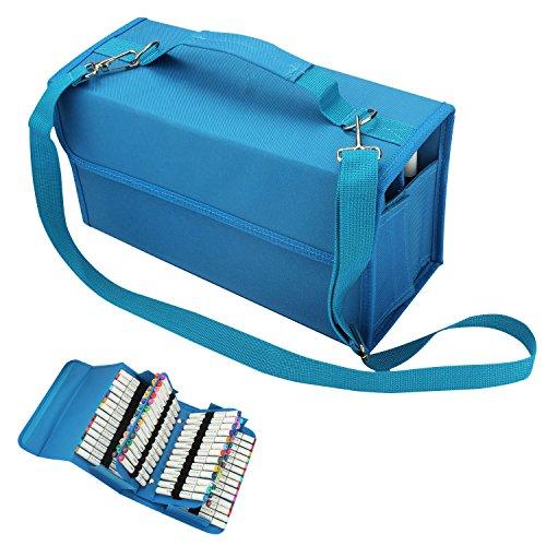 Soucolor Markerstift-Tasche 80 Schlitze Marker Tragetasche Halter für Primascolor Marker und Copic-Sketch-Marker, Permanent Farb-Markerstifte, abwischbare Markerstifte, farbige Highlighter blau (Tasche Marker)