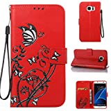 "Coque Etui pour Samsung S7 Edge, Galaxy S7 Edge Coque Dragonne Portefeuille PU Cuir Etui, Samsung Galaxy S7 Edge Coque de Protection en Cuir Folio Housse, Samsung S7 Edge/Galaxy G9350 Leather Case Wallet Flip Protective Cover Protector, Cozy hut Etui de Protection PU Cuir Portefeuille Relief Papillon Narcisses Coque Housse Swag Case Cover Coquille Couverture avec Fonction Stand et Fentes de Carte de Crédit pour Samsung S7 Edge/Galaxy G9350 5,5"" Pouces - rouge"