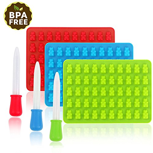 Silikon-Süßigkeits-Formen, Shineus 3 Satz-bunte gummiartige Bären-Form-Eiswürfel-Behälter mit 3...