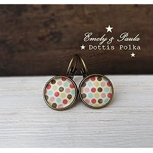 2 Brisuren Farbe bronze Polka Dots Boho Vintage